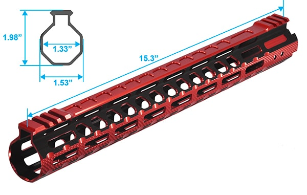 UTG PRO M-LOK® AR15 15 Inch Ultra Slim Rail, Black & Red 2-Tone-5030