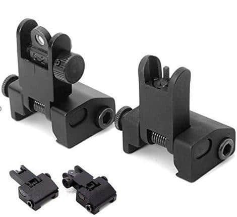 Aluminum Flip Up Sights KM Tactical AR 15 Picatinny Glock P80 KM Tactical