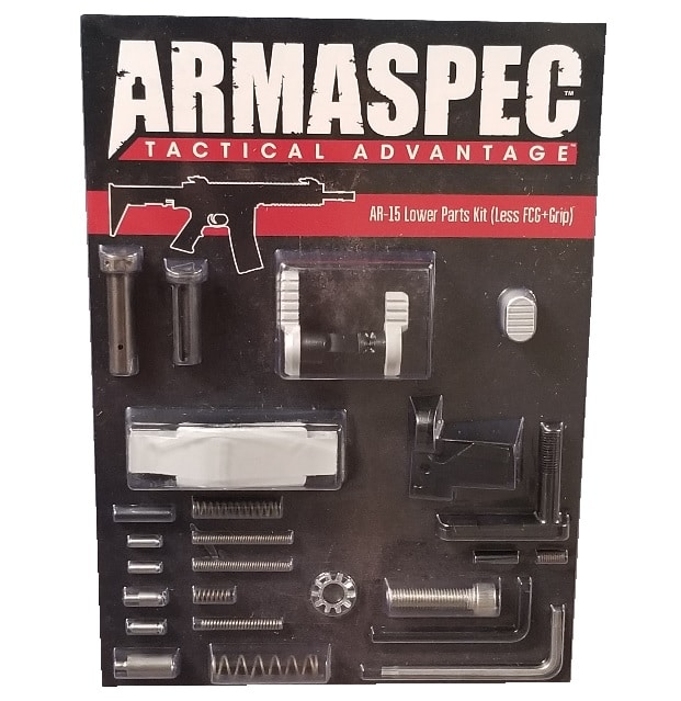 Armaspec AR-15 Lower Parts Kit (Less FCG+Grip) - Silver-0