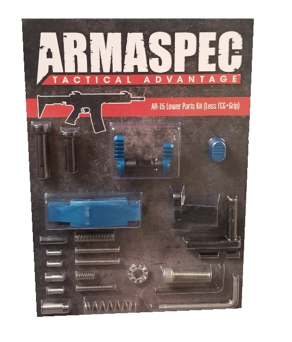Armaspec AR-15 Lower Parts Kit (Less FCG+Grip) - Blue-0