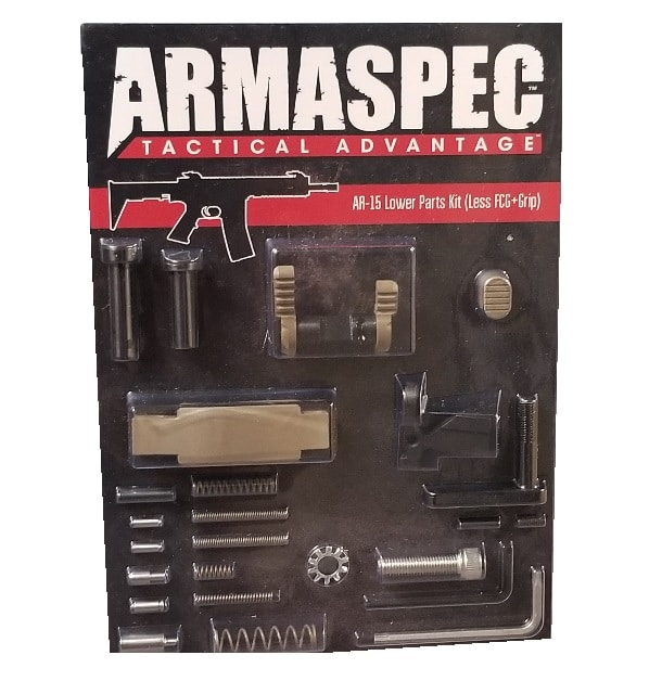 Armaspec AR-15 Lower Parts Kit (Less FCG+Grip) - FDE-0