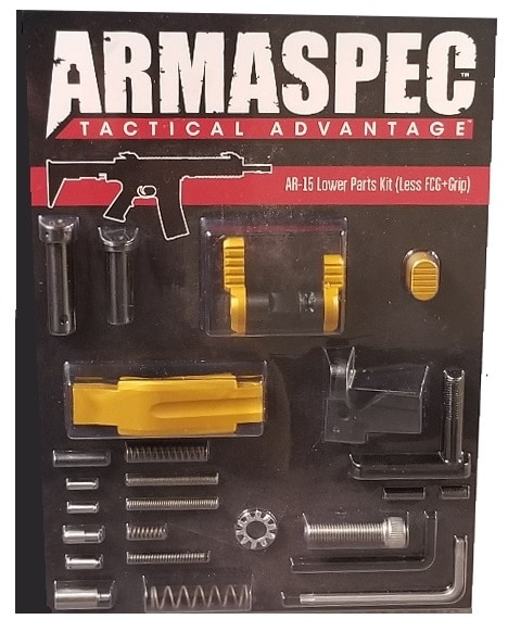 Armaspec AR-15 Lower Parts Kit (Less FCG+Grip) - Gold-0