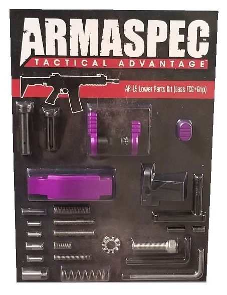 Armaspec AR-15 Lower Parts Kit (Less FCG+Grip) - Purple-0