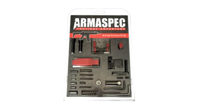 Armaspec AR-15 Lower Parts Kit (Less FCG+Grip) - Red-0