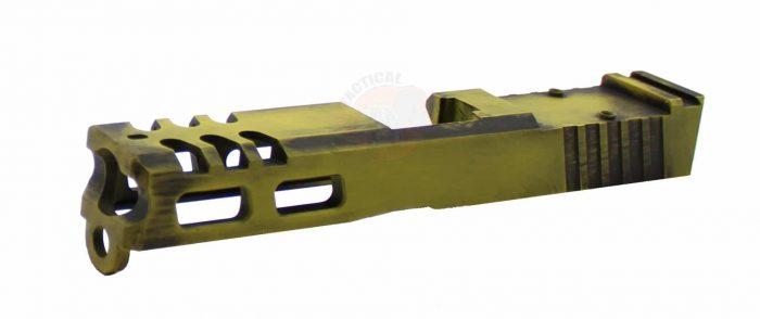 GLOCK 19 Raptor Series Slide - Battleworn Yellow KM Tactical