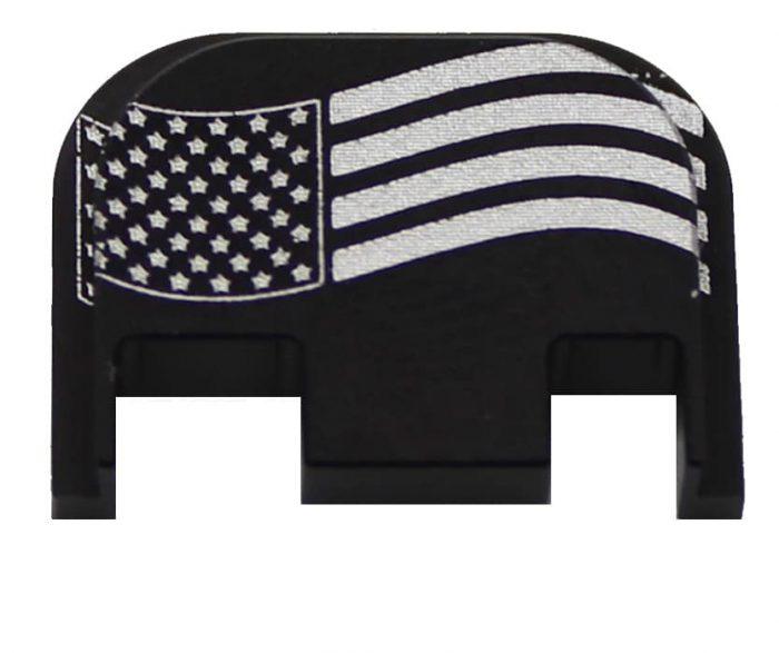American Flag, Wavy Engraved Glock Back Plate (Full Size/G42/G43)-0